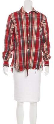 R 13 Distressed Button-Up Top