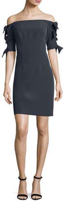 Milly Caroline Off-the-Shoulder Italian Cady Minidress, Slate