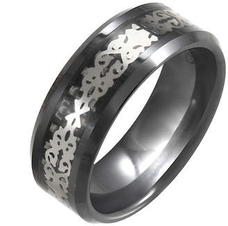 JCPenney FINE JEWELRY Black Ceramic & Stainless Steel Patterned Band