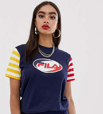Fila relaxed t-shirt with front logo in stripe color block