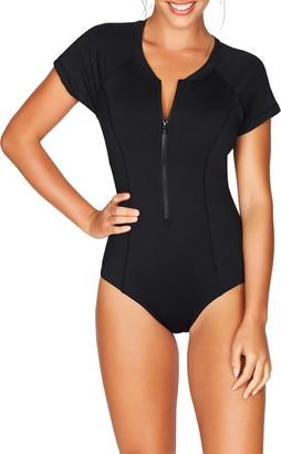 Sea Level Front Zip One-Piece Swimsuit