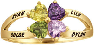 FINE JEWELRY Personalized Engraved Simulated Birthstone Hearts Ring