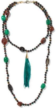 Rosantica Bosco Gold-Tone Bead Stone And Feather Necklace