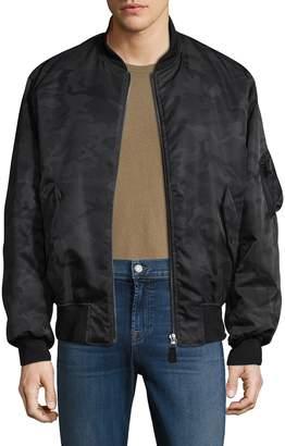 Yves Salomon Men's Printed Stand Collar Jacket