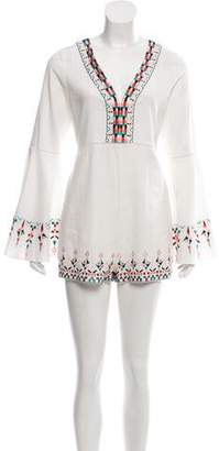 Red Carter Embroidered Linen Romper w/ Tags