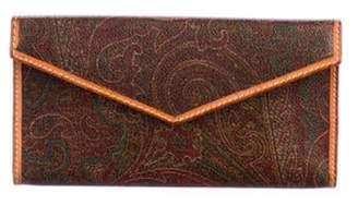 Etro Paisley Leather Envelope Wallet Brown Paisley Leather Envelope Wallet