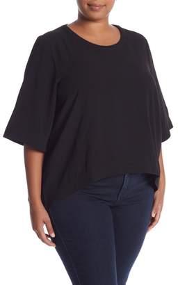 Melissa McCarthy Keyhole Back Hi-Lo Blouse (Plus Size)