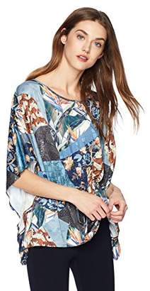Daisy Drive Women's Printed Butterfly Top With Adjustable Belt