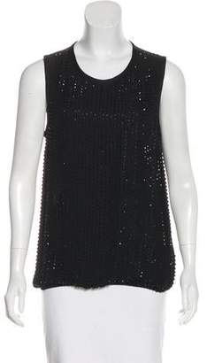 L'Agence Embellished Silk Sleeveless Top