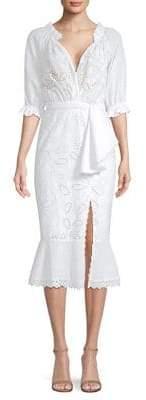 Saloni Olivia Cotton Eyelet Midi Dress