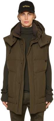 Juun.J Hooded Nylon & Cotton Long Bomber Vest