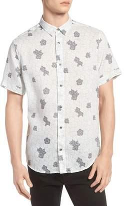 Treasure & Bond Trim Fit Print Linen Sport Shirt