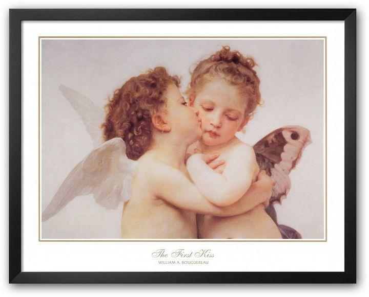 "Art.com The First Kiss, c. 1873 (detail)"" Framed Art Print by William Adolphe Bouguereau"