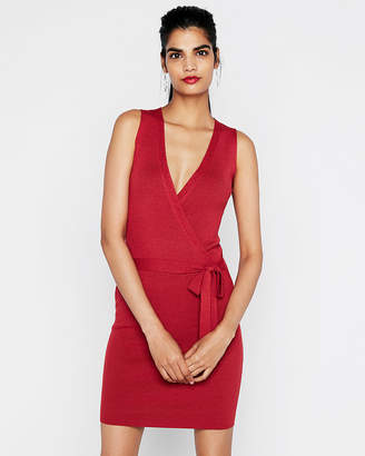 Express Fitted Wrap Sweater Dress