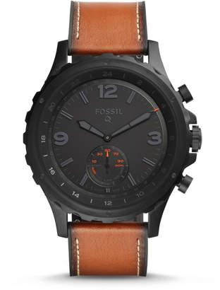 Fossil Hybrid Smartwatch - Q Nate Dark Brown Leather