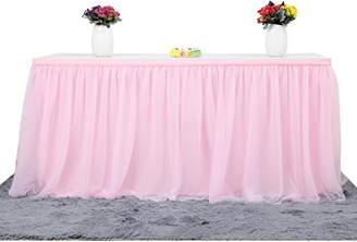 Suppromo 3 Yards High-end Gold Brim 3 Layer Mesh Fluffy Tutu Table Skirt Tulle Tableware Table Cloth For Party