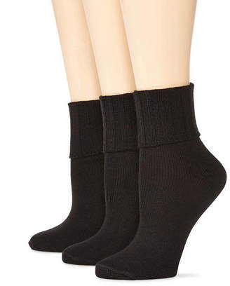 JCPenney MIXIT Mixit 3 Pack Turn-Cuff Socks- Womens