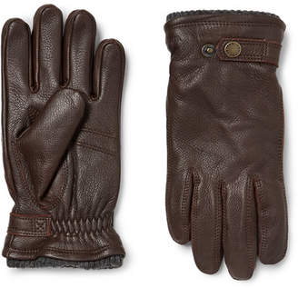 Hestra Utsjö Fleece-Lined Full-Grain Leather And Wool-Blend Gloves