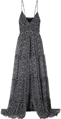 Amiri Layered Floral-print Silk-crepon Maxi Dress - Black