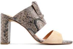 Halston Snake-Effect Leather And Suede Mules