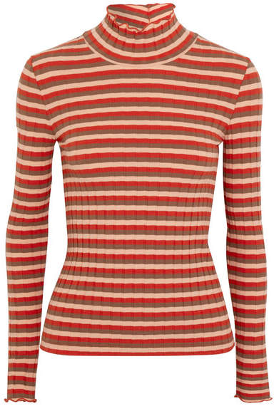 Madewell - Ribbed Striped Stretch-cotton Jersey Turtleneck Top - Red