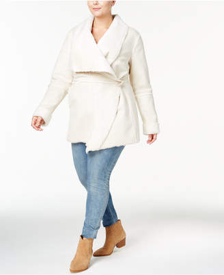 INC International Concepts I.n.c. Plus Size Faux-Shearling Wrap Coat, Created for Macy's