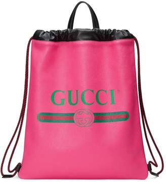 Gucci Logo Leather Backpack