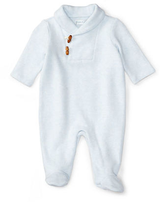 Ralph Lauren Shawl-Collar Footed Toggle-Front Pima Coverall, Size Newborn-9 Months