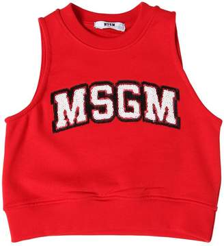 MSGM Sequined Cotton Crop Sweatshirt