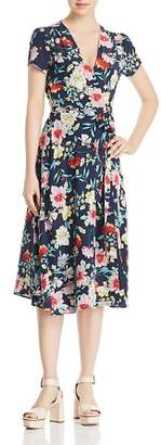 Yumi Kim Spin Me Around Floral-Print Silk Midi Wrap Dress