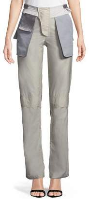 Valentino Inside-Out Pocket Techno Poplin Straight-Leg Pants