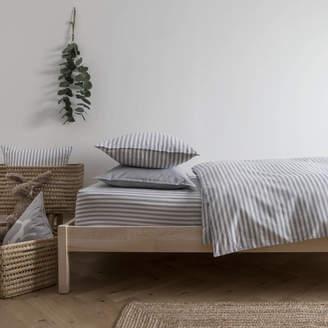 Harriet Hare Ticking Stripe Blue Grey Toddler Cot Bed Duvet Set