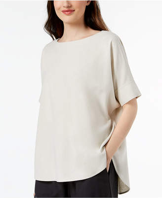 Eileen Fisher Silk Boat-Neck Top