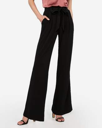 Express High Waisted Sash Tie Knit Wide Leg Pant