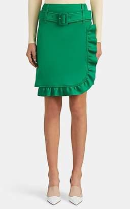 Prada Women's Logo Ruffle-Trimmed Belted Wrap Miniskirt - Green