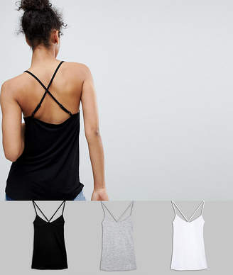 Asos DESIGN cami with cross straps in swing fit 3 pack SAVE