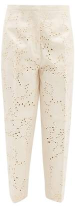 Jil Sander Broderie Anglaise Cotton Trousers - Womens - Beige