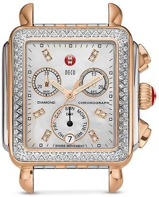 MICHELE Deco Diamond Two-Tone Diamond Dial Watch Head, 33 x 35mm $1,895 thestylecure.com