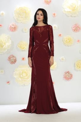 May Queen Paneled Sheer Lace Sheath Long Gown $99 thestylecure.com