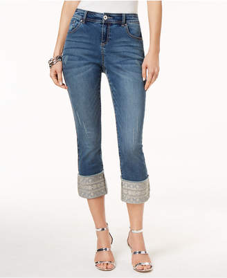 INC International Concepts I.n.c. Petite Embroidered-Cuff Cropped Skinny Jeans, Created for Macy's