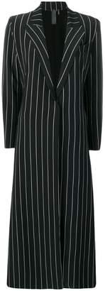 Norma Kamali striped single-breasted coat
