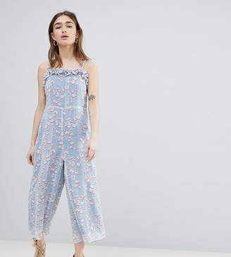 Lost Ink Petite Jumpsuit With Frill Hem In Pastel Print