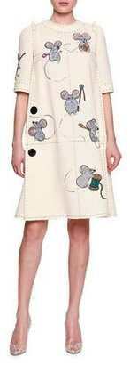 Dolce & Gabbana Mice Sewing Short-Sleeve Dress, White $7,795 thestylecure.com