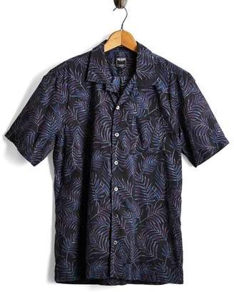 Todd Snyder Short Sleeve Floral Leaf Camp Collar Shirt in Black