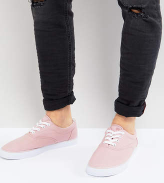 Asos Wide Fit Lace Up Sneakers In Pink Canvas