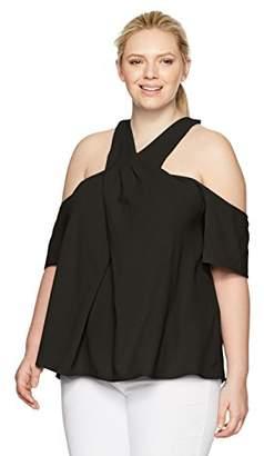 Rachel Roy Women's Plus Size Halter Cold Shoulder Top