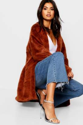 boohoo Luxe Collarless Faux Fur Coat