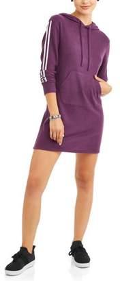 Eye Candy Juniors' Drop Shoulder Hooded Sweatshirt Dress with Kangaroo Pocket
