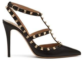 Valentino Rockstud Grained Leather Pumps - Womens - Black
