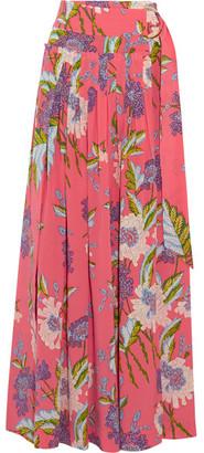 Diane von Furstenberg - Floral-print Silk Crepe De Chine Wrap Maxi Skirt - Pink
